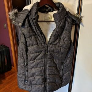 Green Tea, Sherpa lined puffer vest with hood